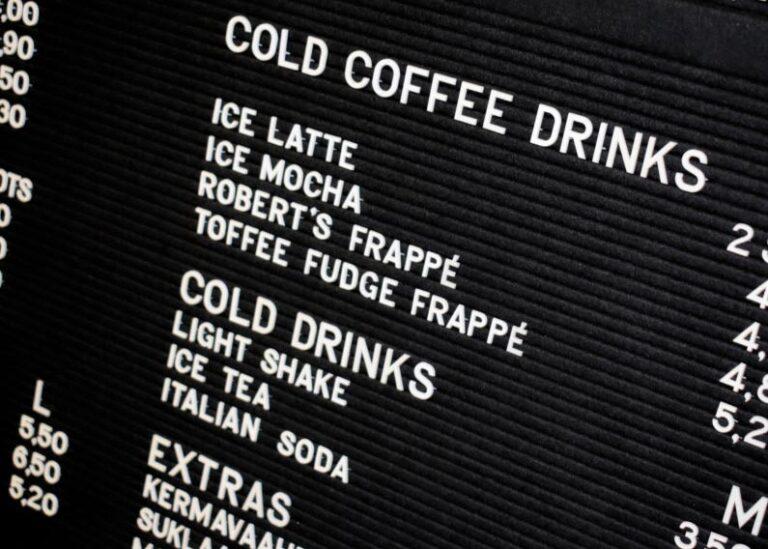 Roberts Coffee hinnastotaulun kuva kylmistä juomista