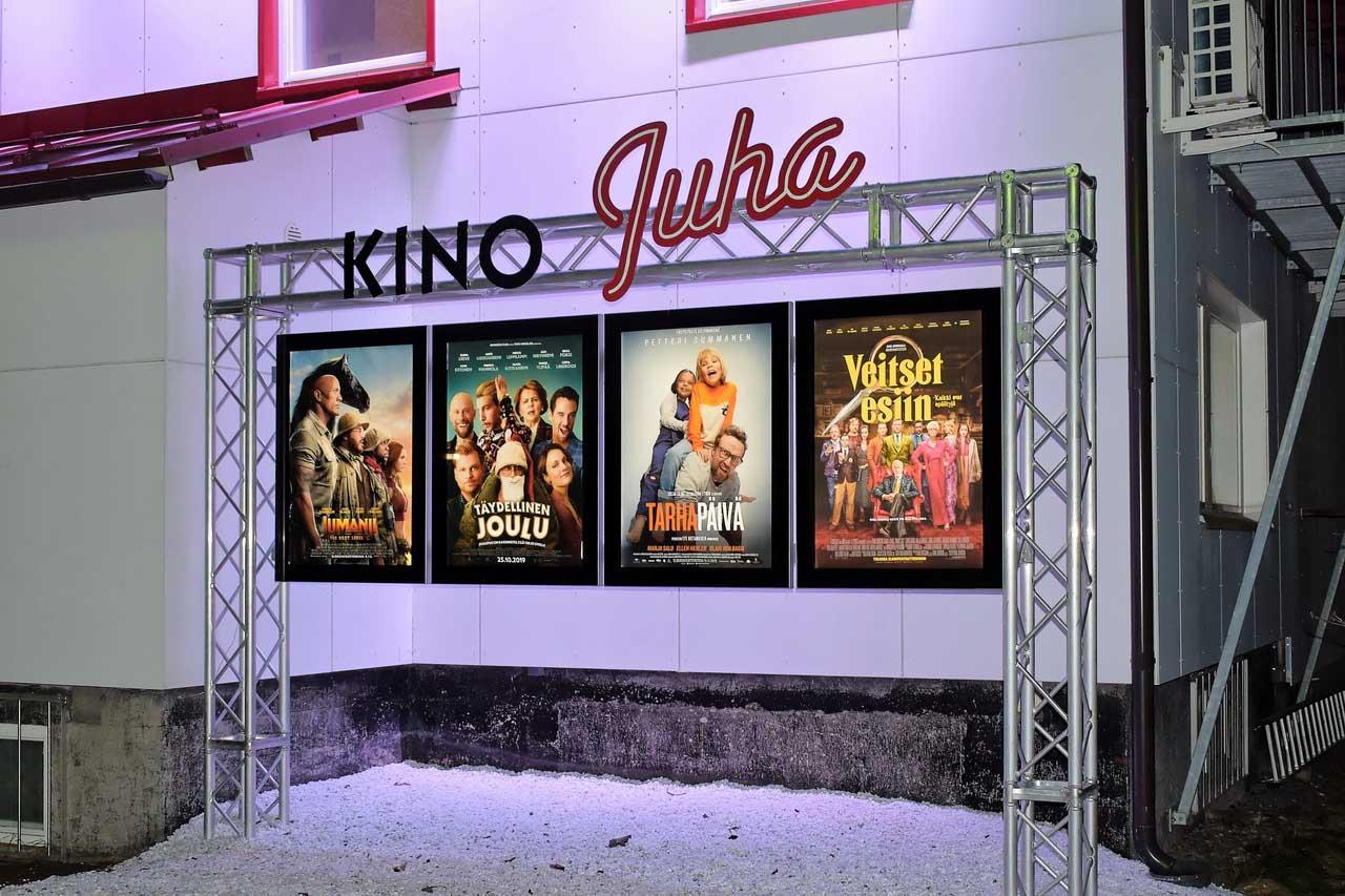 Kino Juha taustavalaistetut julistevitriinikaapit